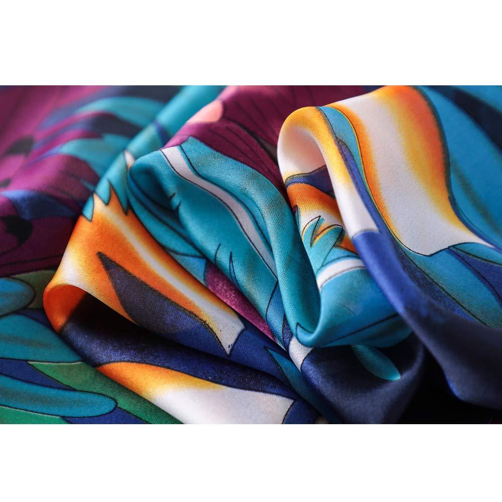 LD Foulard Femme Soie Polyester Écharpe Tissu Satiné Doux Art à la Mode  Etole Châle en Hiver 180   90 cm (Bleu)  Amazon.fr  Vêtements et accessoires aa5c9807bcd