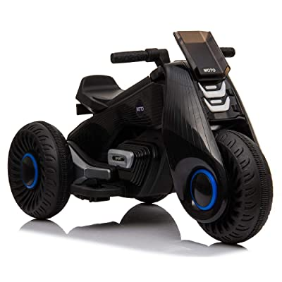 SSLine Kids Ride On Motorcycle Black Cool Electric Motorcycle for 3-8 Years Old Children 6V Battery Powered 3-Wheel Motor Cycle Ride On Toy w/Music & Pedal Christmas New Year Gift for Boys Girls: Toys & Games