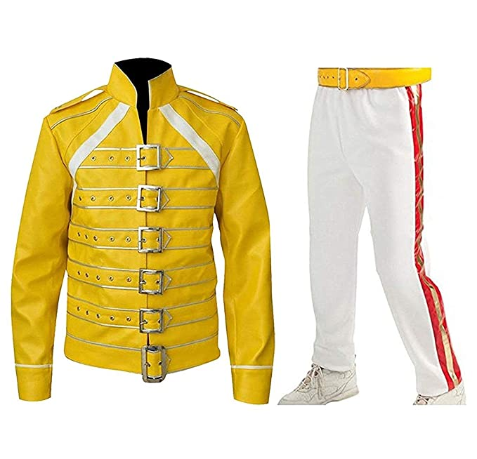 LP-FACON Freddie Jacket Tribute Concert Belted Motorcycle Yellow PU Leather Costume