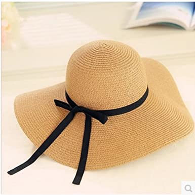 1e3e30a7 Aloiness Straw Sun Hats Sun Hat for Women Floppy Foldable Wide Brim Panama  Summer for Hiking Camping Traveling: Amazon.co.uk: Clothing