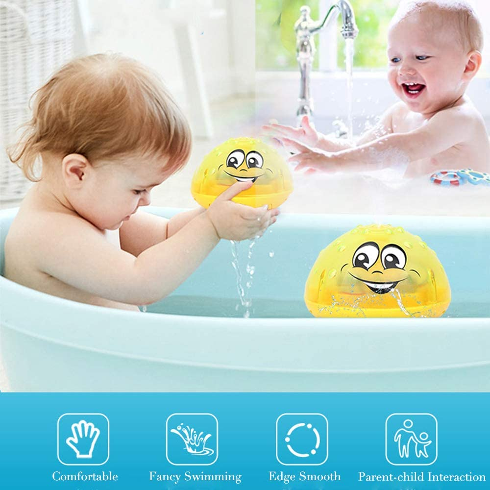 Hooku Baby Light Up Bath Toys Whale Automatic Spray Water Bath Tub Toys Induction Sprinkler Bathtub Shower Toys for Kids Toddlers Boys Girls