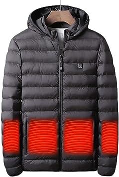 メンズヒートジャケット、取り外し可能な帽子付きのUSB充電温度制御ウォッシャブルダウンコート、冬のスキーバイクハイキング用