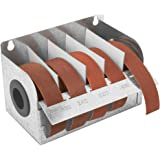 "Steel Sandpaper Roll Dispenser with 5 Cloth Abrasive 1"" x 20' Rolls"