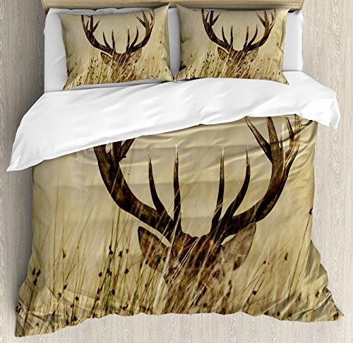 Antler Decor Queen Size Duvet Cover Set by Ambesonne, Whitetail Deer Fawn in Wilderness Stag Countryside Rural Hunting Theme, Decorative 3 Piece Bedding Set with 2 Pillow Shams, Brown Sand Brown