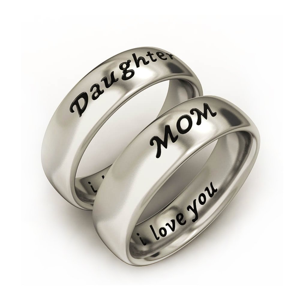 I Love You Mother Daughter Jewelry Unique Fashion Band Ring Set TR368