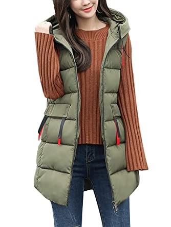 fb24d4abaf0f Women's Cotton Padded Zipper Front Quilted Puffer Long Down Vest Jacket  with Hood Army Green Tag