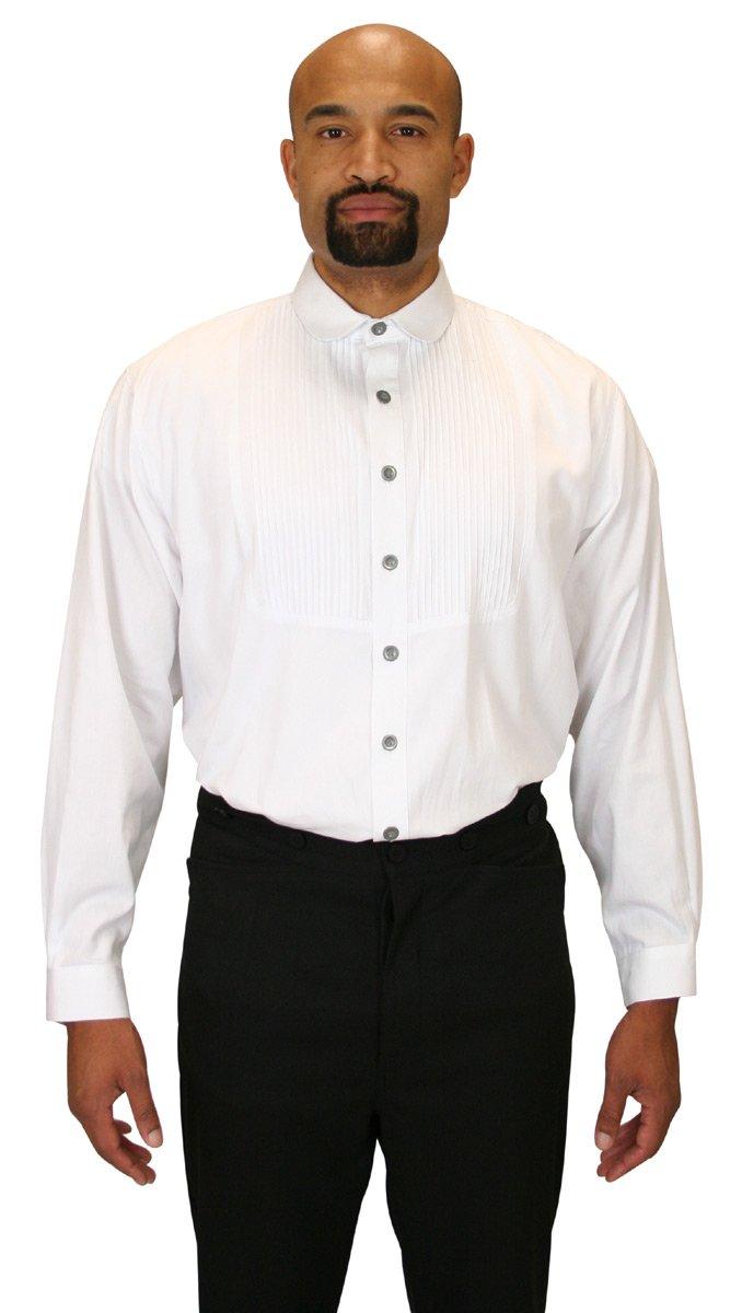 Historical Emporium Men's Sinclair Edwardian Club Collar Dress Shirt 2X White