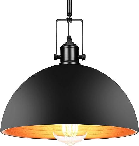 Industrial Barn Pendant Light with Bulb – UL Listed with 4 Hard Stems Adjustable Length Vintage 9.25 Dome Pendant Light