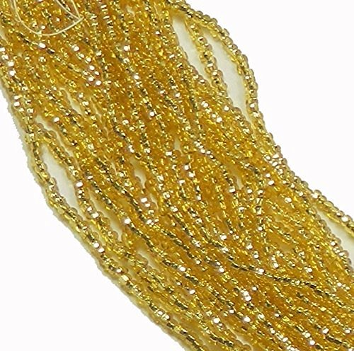 Straw Gold Silver Lined Czech 8/0 Glass Seed Beads 1 Full 12 Strand Hank Preciosa - Gold Seed Glass