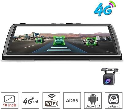 10Touch IPS Dashboard 4G Dvr del Coche Dash Camera Recorder Android Espejo Retrovisor GPS Bluetooth WiFi Adas Monitor Remoto