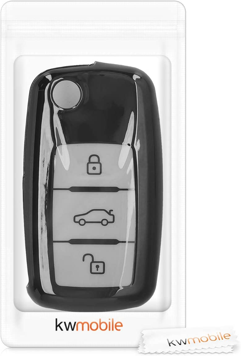 Dont Touch My Key Black//Blue High Gloss kwmobile Car Key Cover Compatible with VW Skoda Seat VW Skoda SEAT 3 Button Car Key Cover with Design