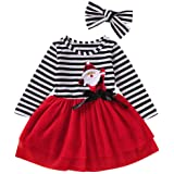 Baby Toddler Girls Christmas Outfits Kids Long Sleeve Santa Stripe Tulle Dress Skirts with Headband