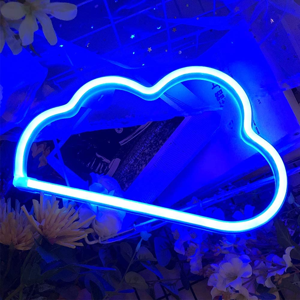 Protecu Cloud Light Neon Sign, LED Signs for Bedroom Neon Signs for Wall Decor, Neon Lights Light Up Signs for Kids Living Room, Birthday, Wedding Party, Christmas, New Year Home Decor (Blue)