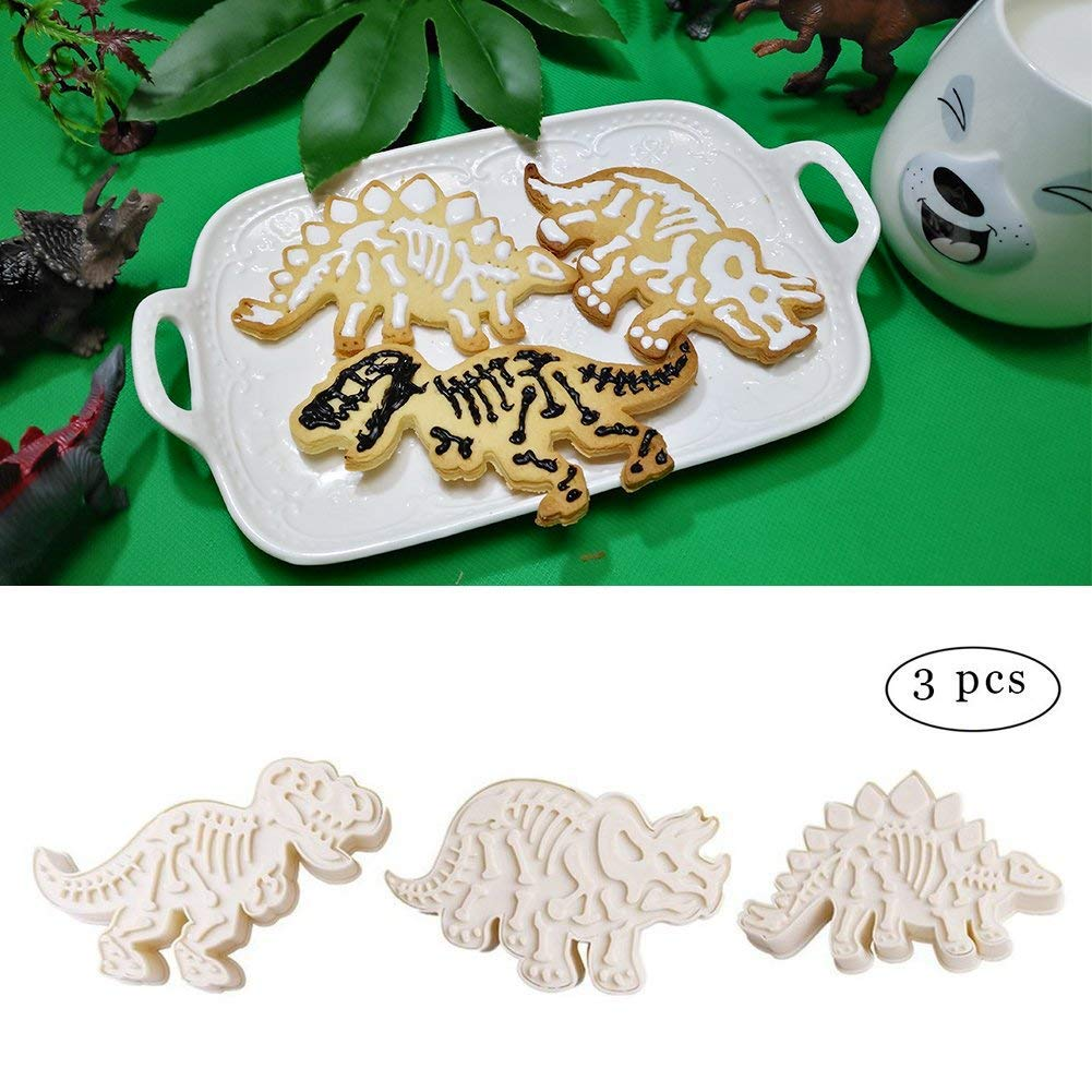 Set of 3PCS Dinosaur Fossil Cookie Making Molds, Dinosaur Chocolate Biscuit Cutters Stampers Emboss, Dinosaur Fossil Bone Pattern Mold for Fondant Cake Decoration