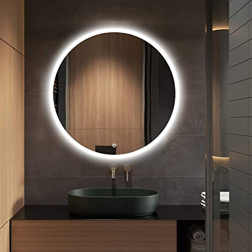 S bagno 24 Inch Diameter Modern Round Illuminated LED Bathroom Mirror, with Built-in Bluetooth Speaker, Dimming Function, Demister pad and Touch Sensor Switch