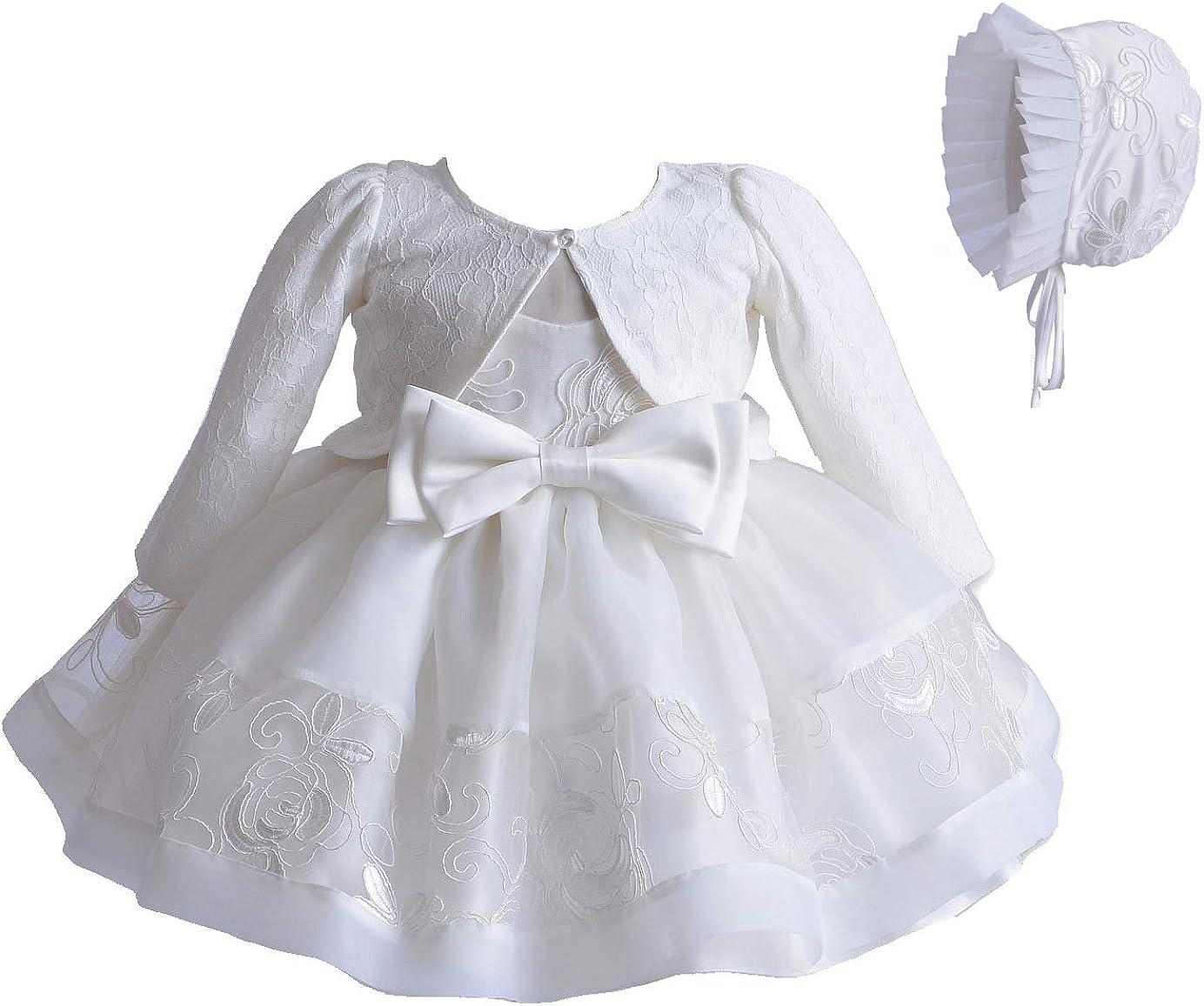 Cinda Vestido de Fiesta de Bautizo de Marfil de ni/ña beb/é cap/ó y Chaqueta