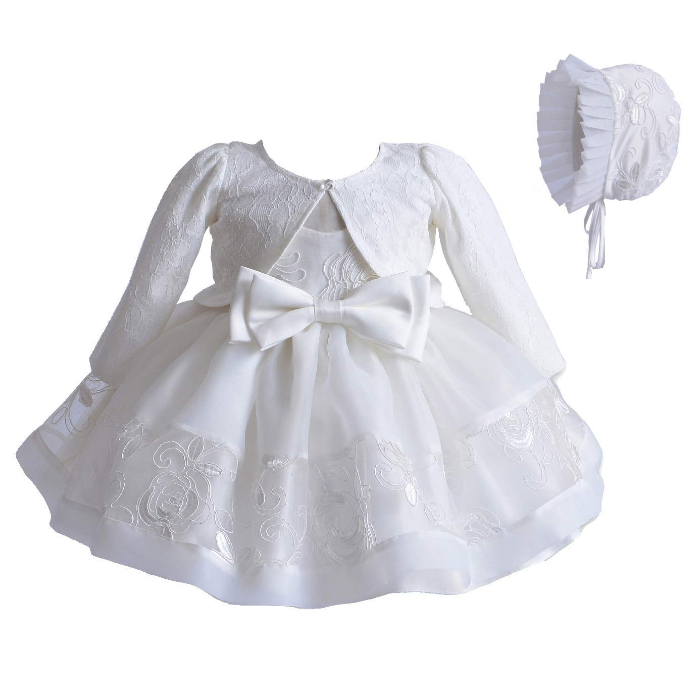 Cinda Baby Girls Ivory Lace Christening Party Dress Bonnet 802