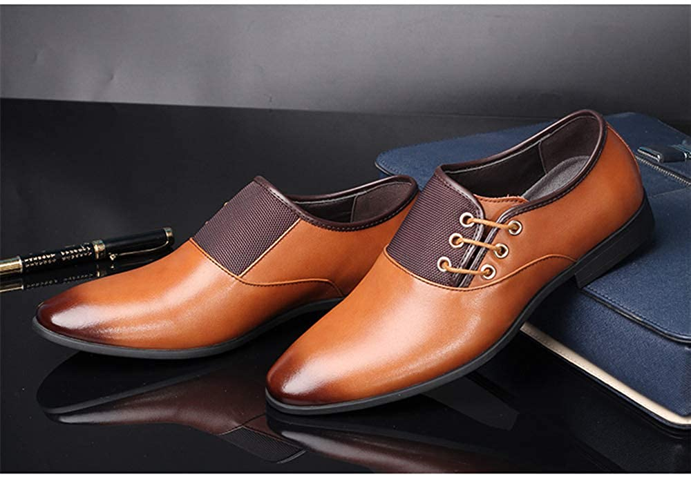 Men's Business Dress Oxford Shoes Pointed Viscose Shoes Genuine Leather Shoes Shoes Wear-Resistant Leather Shoes Leather 43/9 D(M) US Men|Yellow B07GBYK3GX 980afa