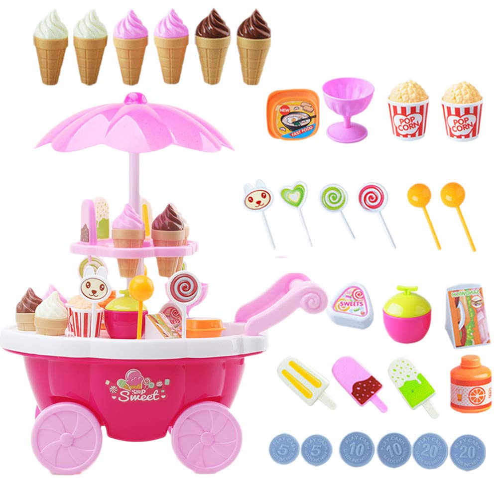 Toyvian 1 Set Kids Pretend Play Toy Simulation Candy Ice Cream Car Trolley Toy with Music Light, Gift for Boys and Girls (Pink)