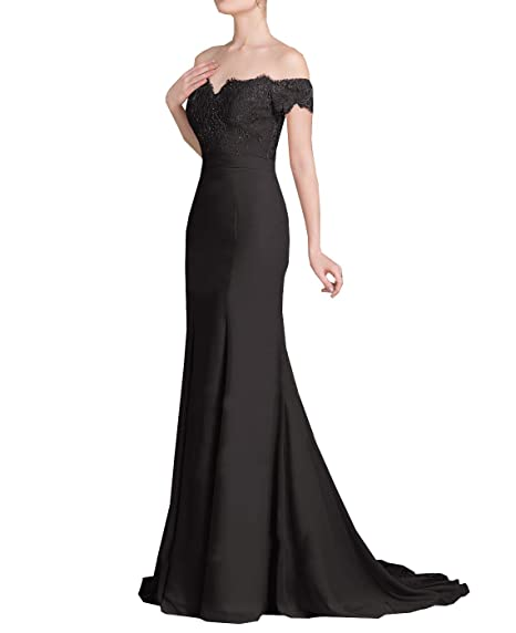 Venus Bridal Womens Off-The-Shoulder Mermaid Prom Dresses Lace Trumpet Sequins Party Dresses