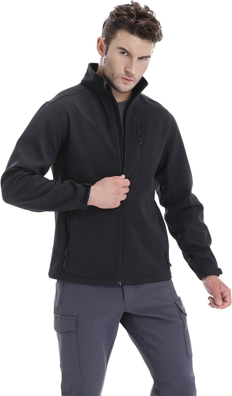 TRAILSIDE SUPPLY CO. Mens Softshell Fleece-lined Jackets/Winter Outdoor Coats/Windbreaker/Medium-weight Water-repellent.: Clothing