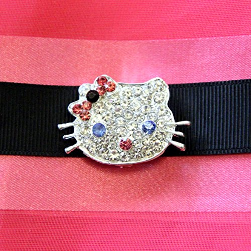 20 pc Rhinestone KITTY-INSPIRED SALE HALLOWEEN- Rhinestone Charm Slider -BLOWOUT CLEARANCE -Hair Jewelry Ribbon Slider for Ribbons Wedding Supply