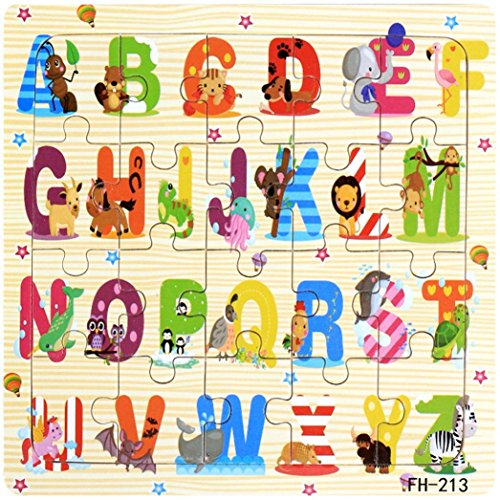 Cloudro Baby Educational Toys,Wooden Jigsaw Puzzles Cute Animals Early Learning Training Toy for Boys and Girls Gift Cheap (Letters)