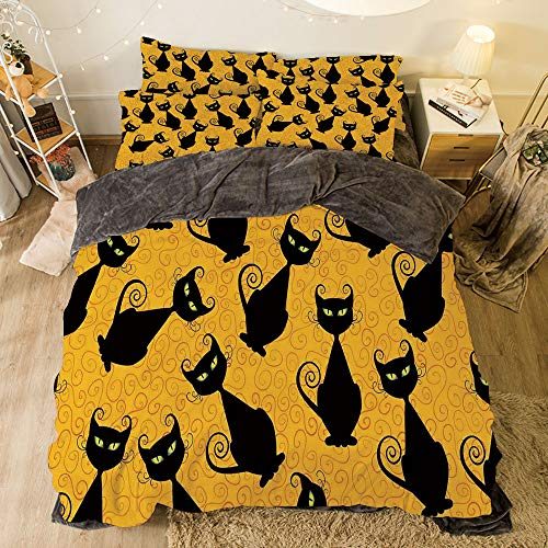 Flannel Duvet Cover Set 4-Piece Suit Warm Bedding Sets Quilt Cover for bed width 6.6ft Pattern by,Vintage Decor,Black Cat Pattern on Orange Background Halloween Witch Pet Graphic Decorative,Black Or -