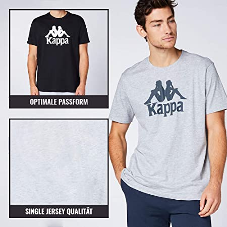 Kappa VEPPEL - Pack de 3 camisetas deportivas para hombre con cuello redondo y logo impreso para hombre - Camiseta de manga corta para deporte y ocio - Corte regular
