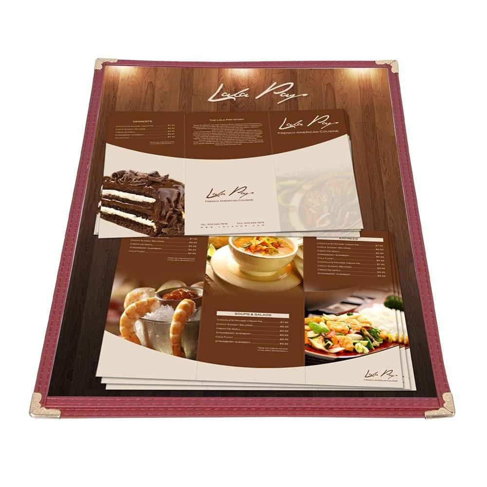 NEW Set of 30 Commercial Burgundy Trim 1-Page 2-View Restaurant Cafe Menu Covers/Folders by EPIC
