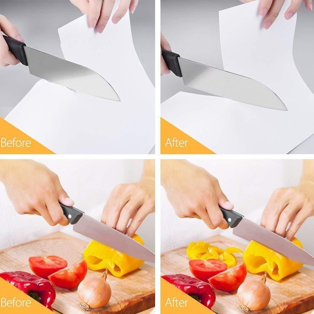 Varilla de Cer/ámica Varilla de Diamante con Base Antideslizante Herramienta Manual de Afilado de Cuchillas de 3 Etapas BYETOO Afilador de Cuchillos de Cocina Hoja de Acero de Tungsteno