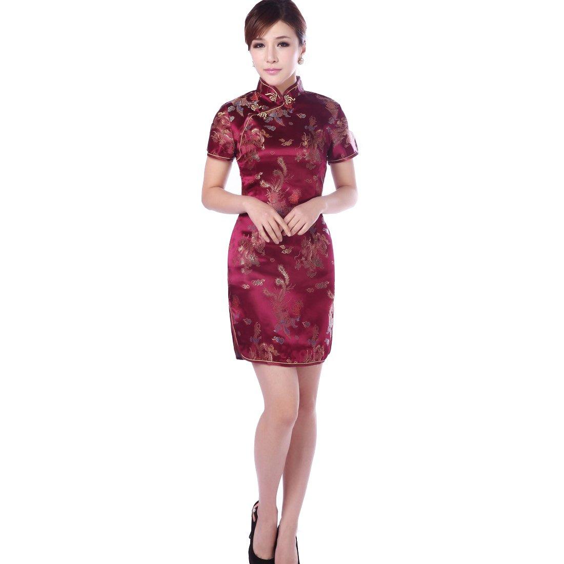 JTC Women's Wine Red Short Cheongsam Dress 1pc (4)