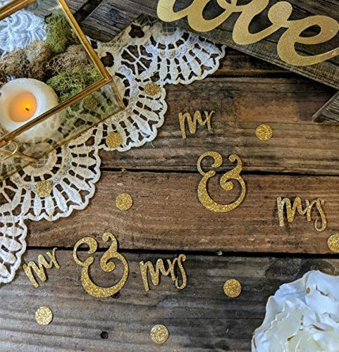 Mr and Mrs Table Decor, Sweetheart Table Decor, Confetti, Bridal Shower Decorations, Engagement Party Decor, Gold, Centerpiece