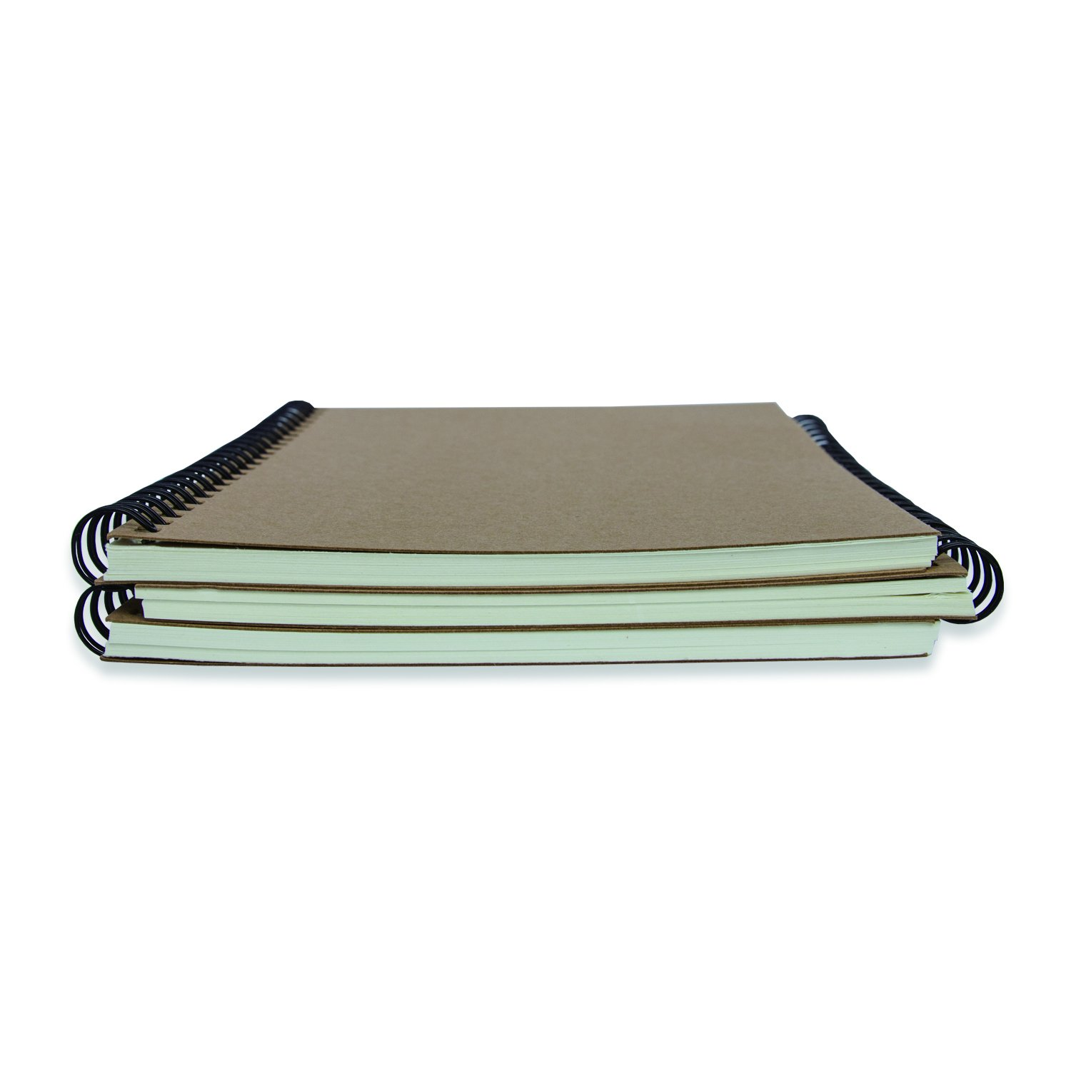 Kraft Paper Cover Notebooks Spiral Notebooks (A5 Size, Set of 3) (Cartwheel Double Iron Ring) by Luck'y stores (Image #3)