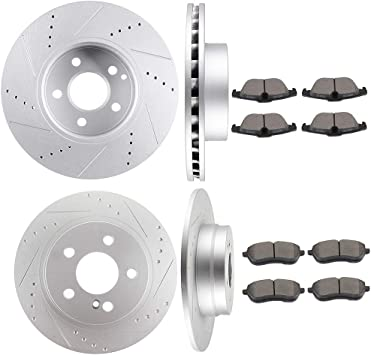 2008 For Mercedes-Benz C300 Drilled Slotted Front Rotors and Pads w//o Sport Pkg
