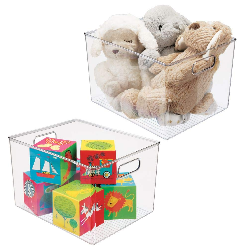 """mDesign Deep Plastic Home Storage Organizer Bin for Cube Furniture Shelving in Office, Entryway, Closet, Cabinet, Bedroom, Laundry Room, Nursery, Kids Toy Room - 12"""" x 10"""" x 8"""" - 2 Pack - Clear"""