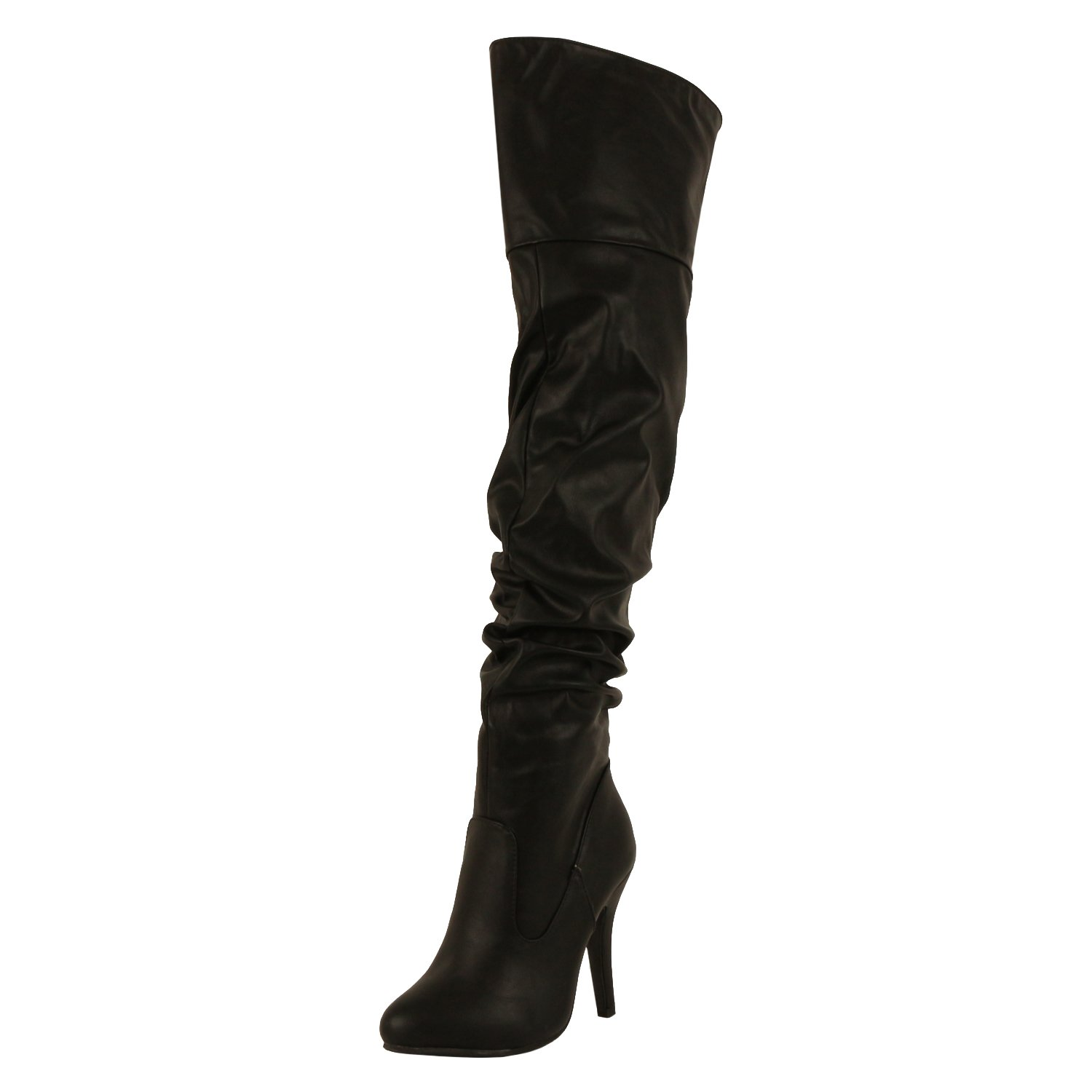 Forever Link Womens Focus-33 Fashion Stylish Pull On Over Knee High Sexy Boots,Black,8 by Forever