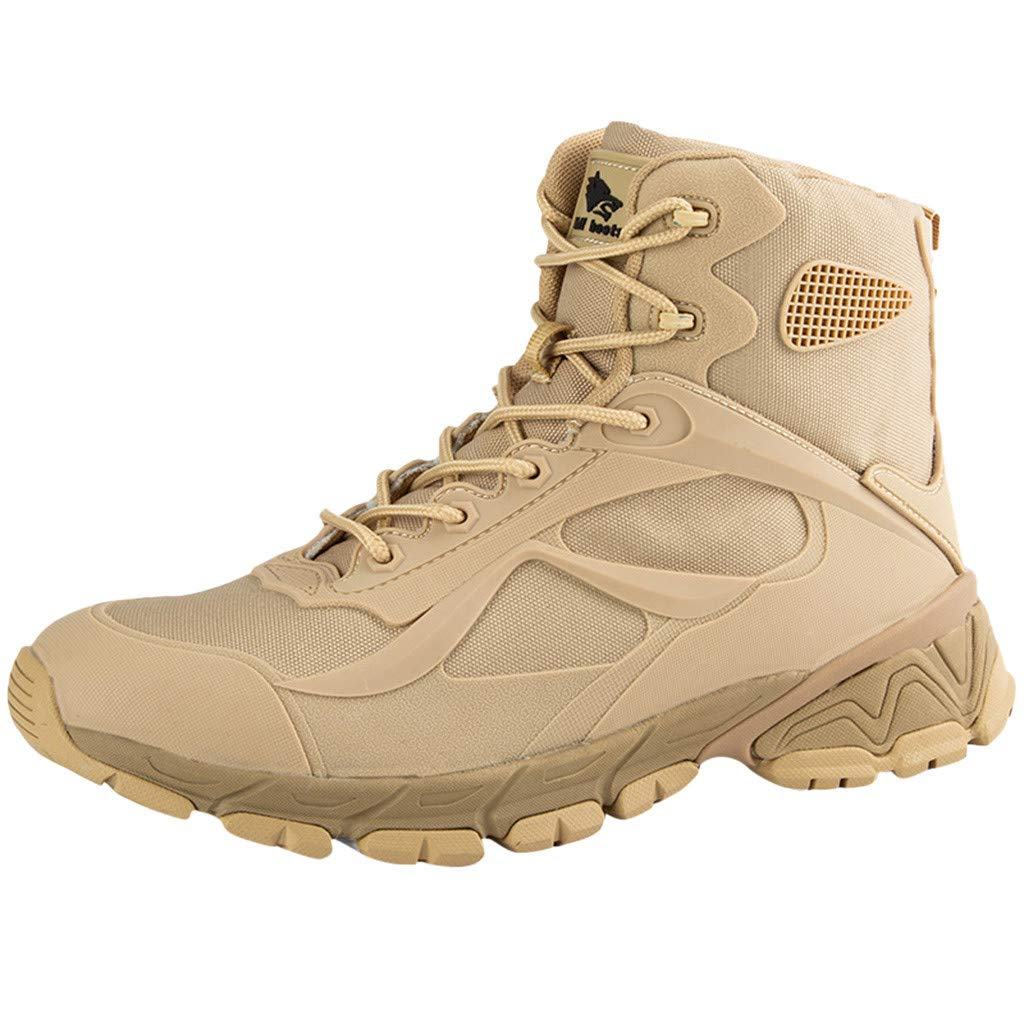 Fheaven Men Military Tactical Boots Hiking Boots Duty Work Boots Shoes Outdoor Work Desert Jungle Mountaineering Boots Beige by Fheaven-shoes