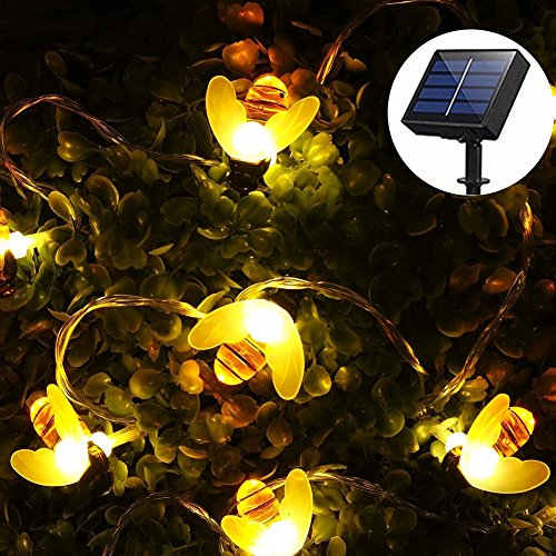Solar String Lights Outdoor for Garden Decoration, Aukora 30 LED Solar Powered Honey Bee String Lights Starry Fairy Lights for Halloween Christmas Patio Trees Flower Grass, Ideal Gifts(Warm White)