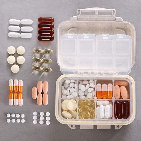 Aolvo - Organizador semanal para pastillas, pequeño, bonito, portátil, viaje, para