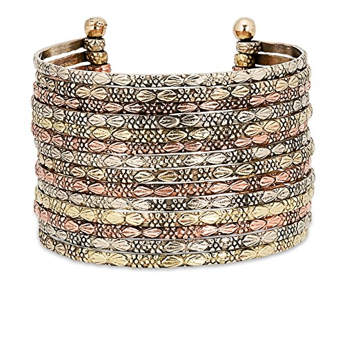 SPUNKYsoul Metal Cuff Bracelet in Silver, Gold or Multi Tone Collection (Multi-Tone) ()