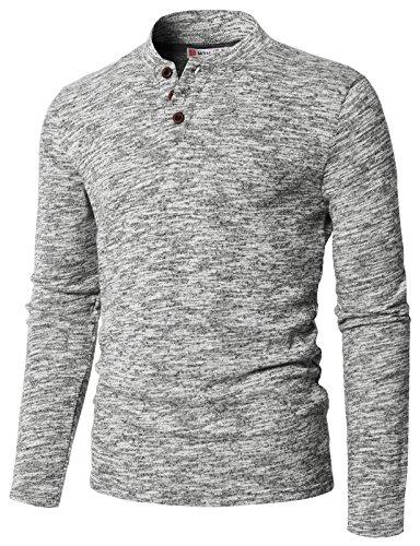 (H2H Mens Casual Slim Fit Raglan Baseball Three-Quarter Sleeve Henley T-Shirt Gray US M/Asia L (CMTTL095))