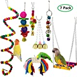 MQFORU 7pcs Bird Swing, Parrot Cage Toys,Swing Hanging Toys with Bell Pet Bird Cage Hammock Swing Toy Hanging Perch Toy…