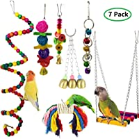 MQFORU 7pcs Bird Swing, Parrot Cage Toys,Swing Hanging Toys with Bell Pet Bird Cage Hammock Swing Toy Hanging Perch Toy for Greys Parakeets Cockatiels, Conures, Macaws, Parrots, Love Birds, Finches
