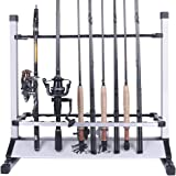 Fishing Rod Holder Portable Aluminum Fishing Rod Rack Holds 24 Rods---Rack Up Fishing Rods on Boat, Truck, RV at Home or in Garage Fits Anywhere!