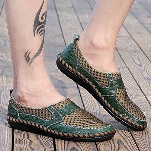 Loafers Flats Green LYNE Shoes Car Comfort on Octopus Casual Boat Leather Men's Handmade Lace Driving and 7923 Slip Soft up wq084Fw
