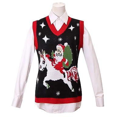 2c61d7b1cb6c9e GRACIN Womens Ugly Christmas Sweater, Adult Plus Size Unicorn & Santa Claus  Knit Vest at Amazon Women's Clothing store:
