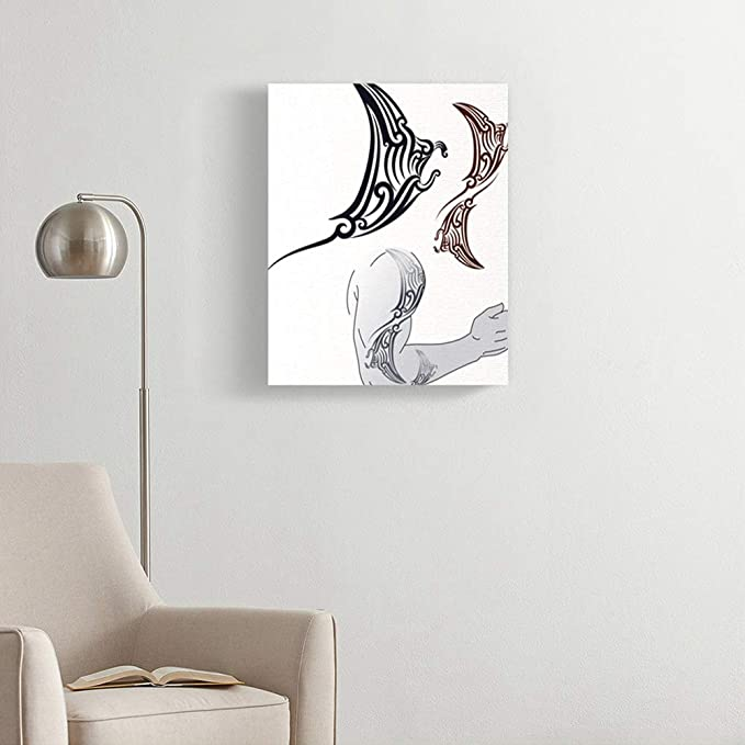 Amazon.com: Emvency Painting Canvas Print Artwork Decorative Print Maori Styled Tattoo in Shape of Manta Ray Profile Fit for Shoulder and Forearm Wooden ...