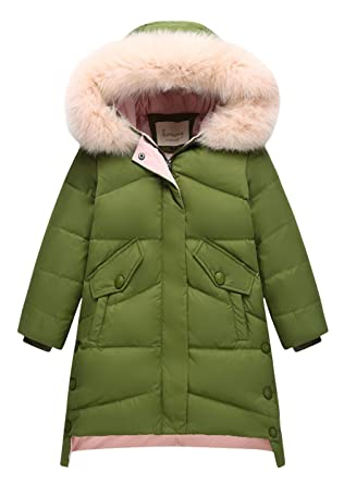 ac4a2d875 Image Unavailable. Image not available for. Color: La Vogue Little Girls  Solid Hooded Long Down Coat ...