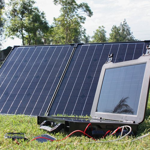 Cheap The Phoenix Generator + 100 Watt Monocrystalline Foldable Solar Suitcase Kit